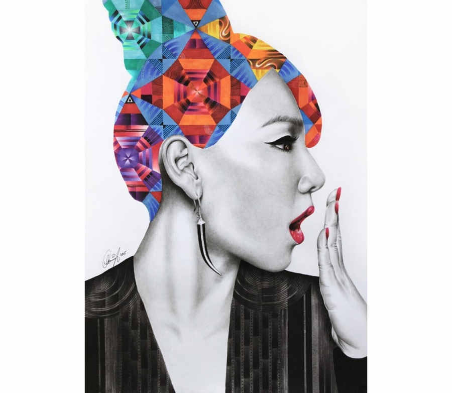 dibujos de retratos geométricos