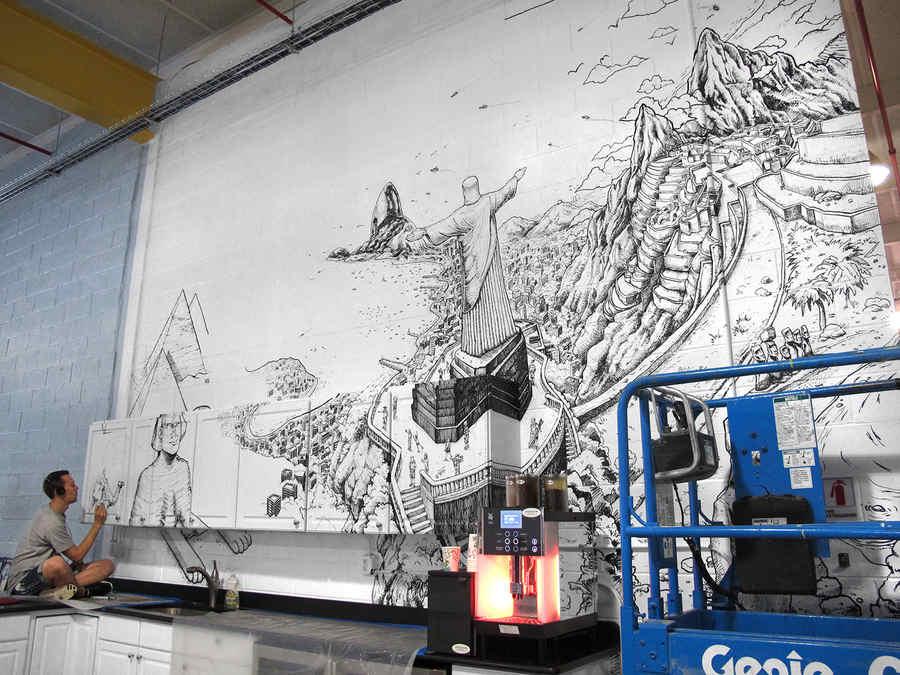 pintura mural con plumones