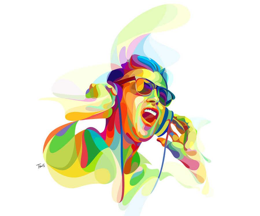 ilustraciones con olas de color