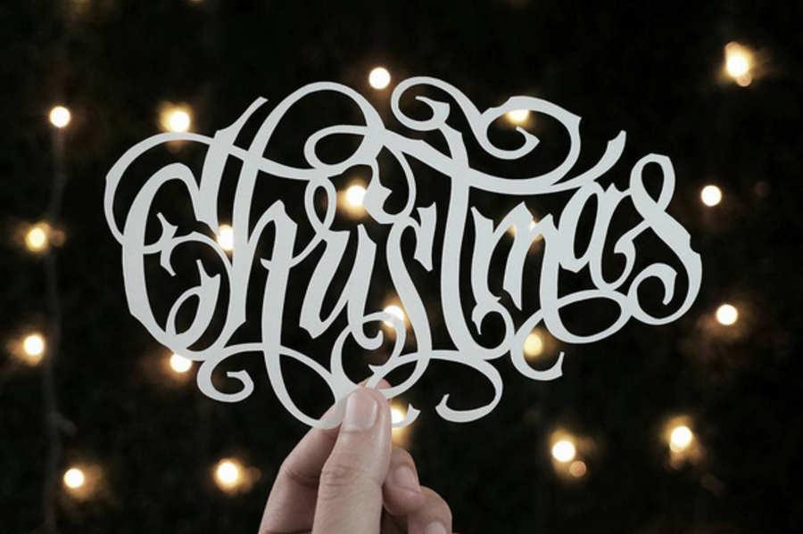 diseño de lettering en papel recortado