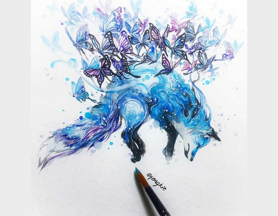 pinturas de animales hechas con acuarelas