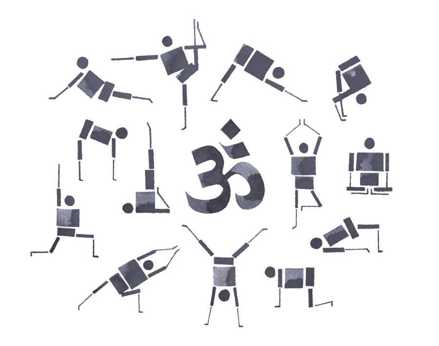 posiciones de yoga hecho con caligrafía