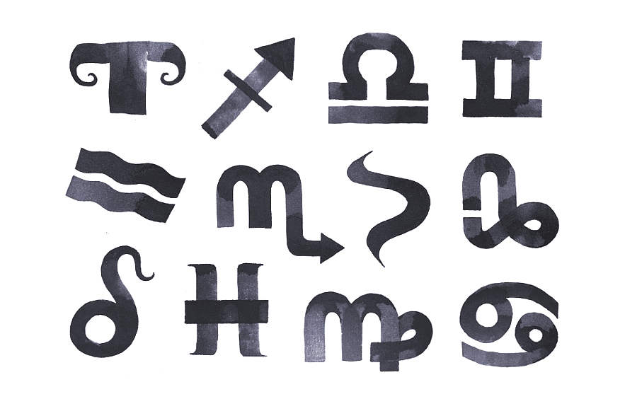 zodiaco hecho con caligrafía