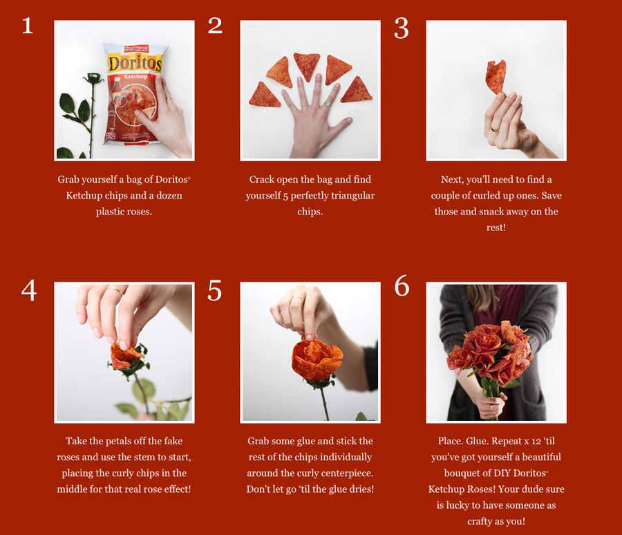 flores hechas de Doritos