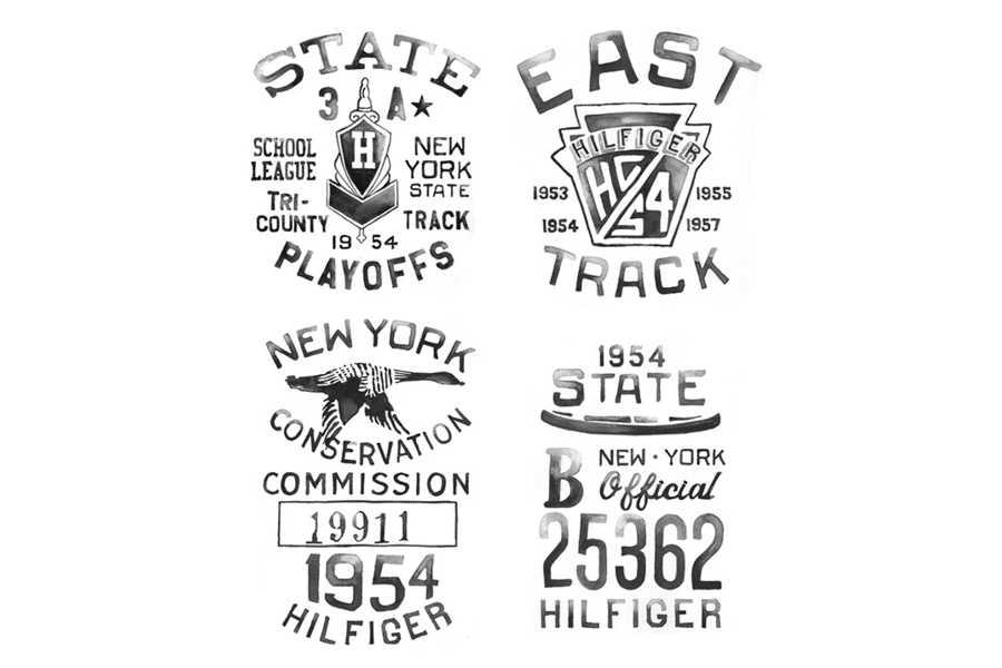 logotipos clásicos en acuarelas