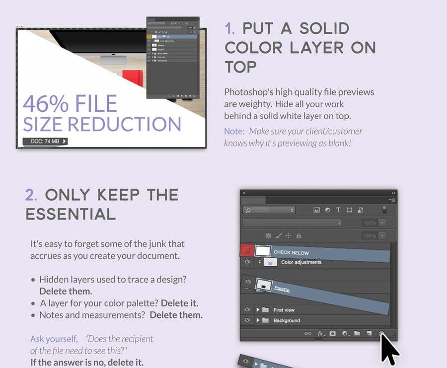cómo reducir el peso de archivos Photoshop