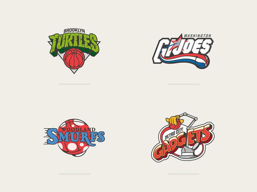 logotipos de la NBA como caricaturas