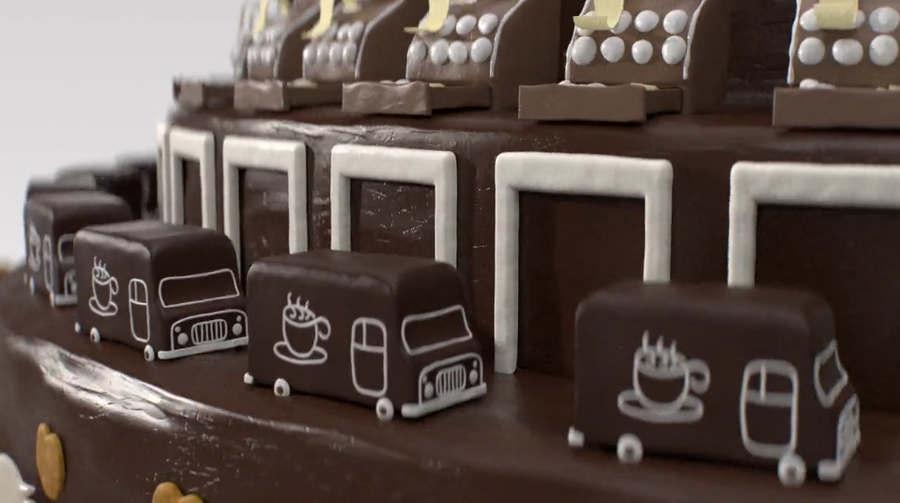 animación con pastel