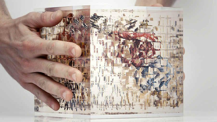 cubo transparente con dibujos