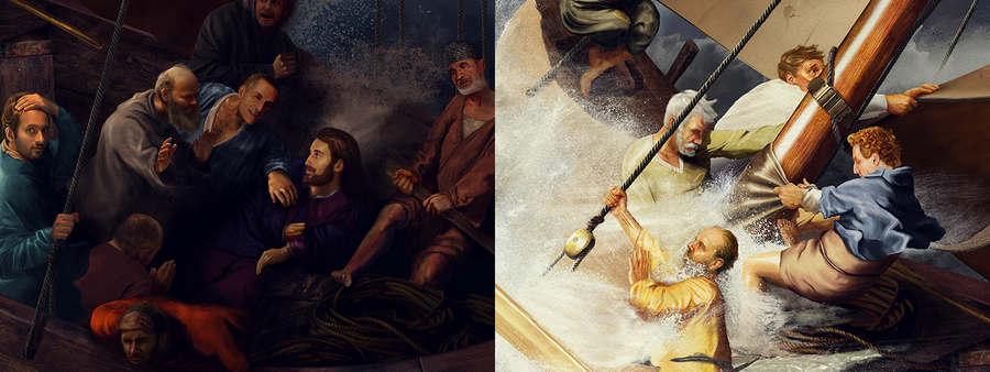 pintura de Rembrandt hecha con fotos