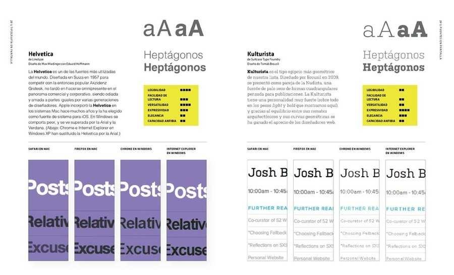 libro tipografía en pantalla