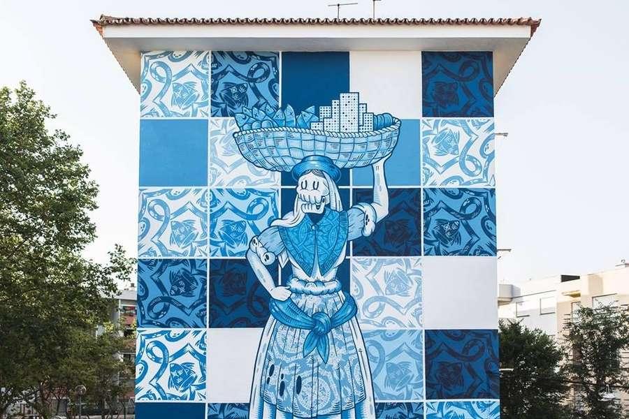 mural con efecto de azulejos