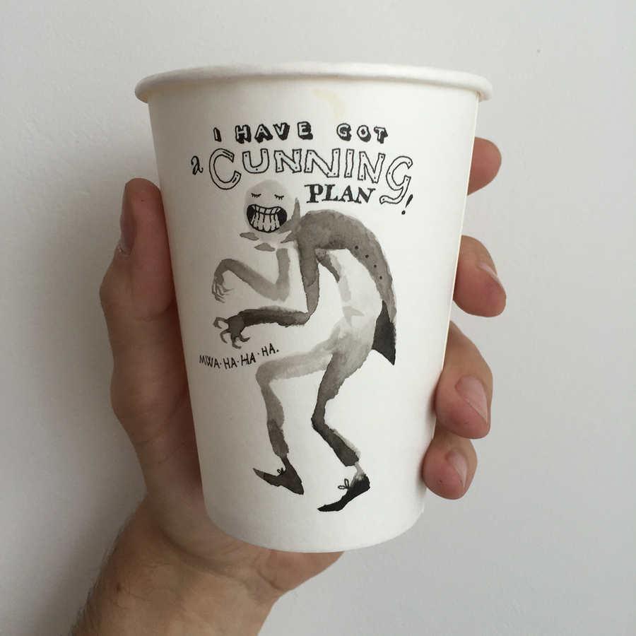 dibujos en vasos de papel