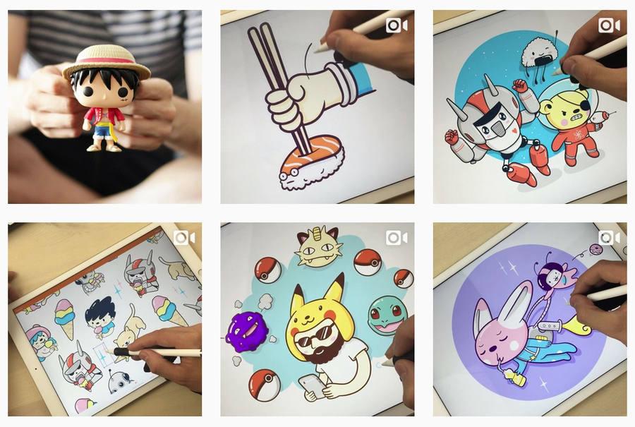 dibujos kawaii en iPad Pro