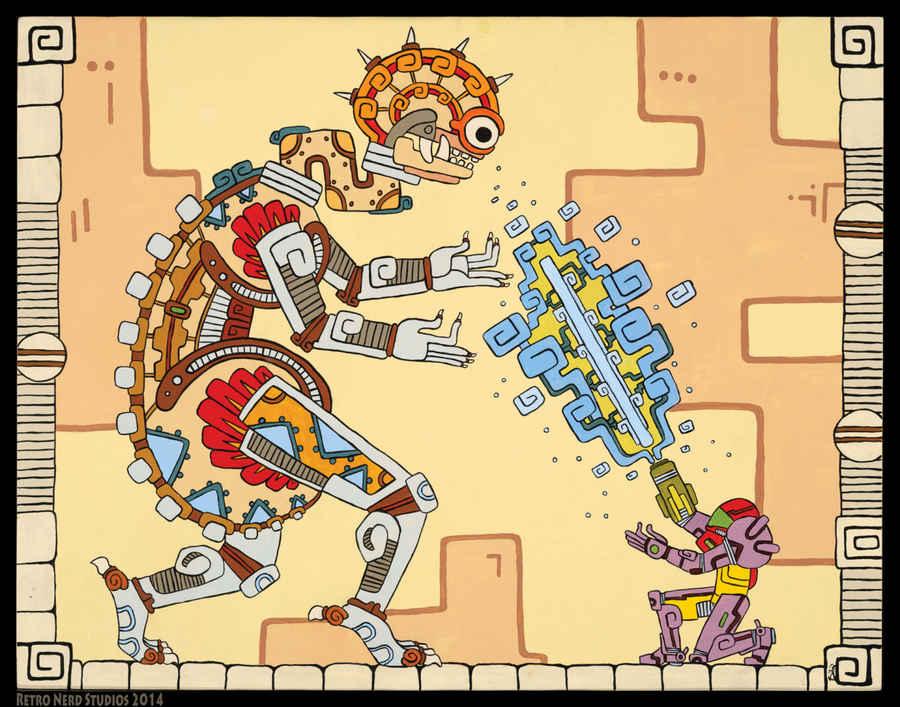 dibujos de personajes de videojuegos en estilo maya