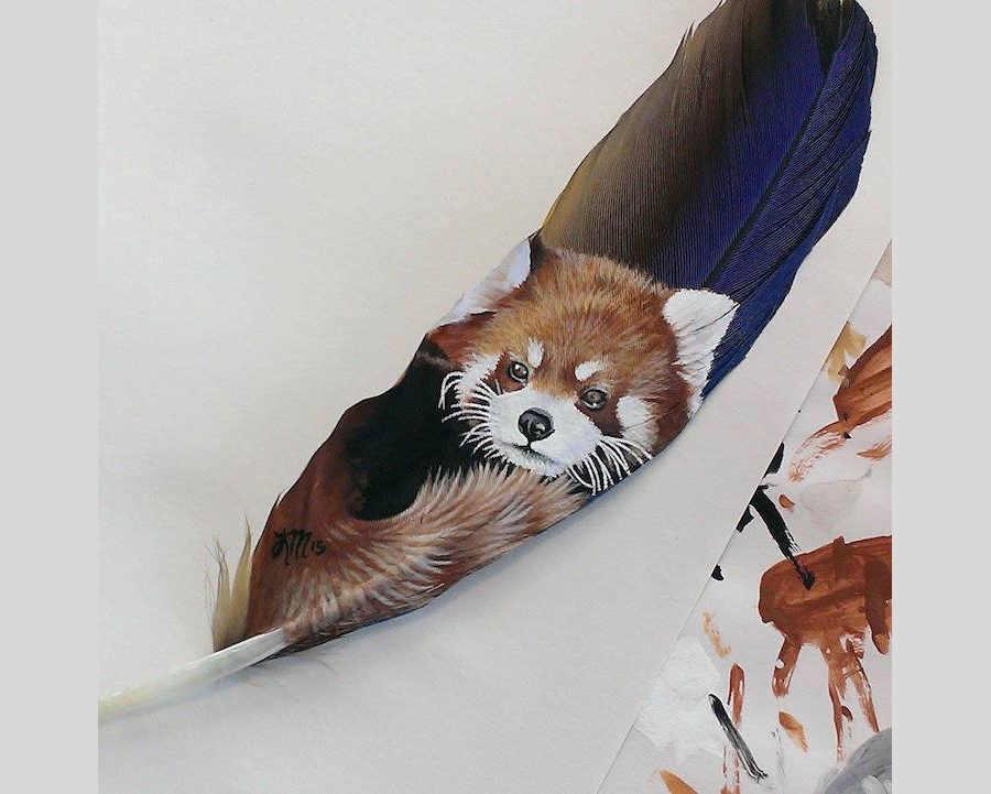pinturas en plumas de aves