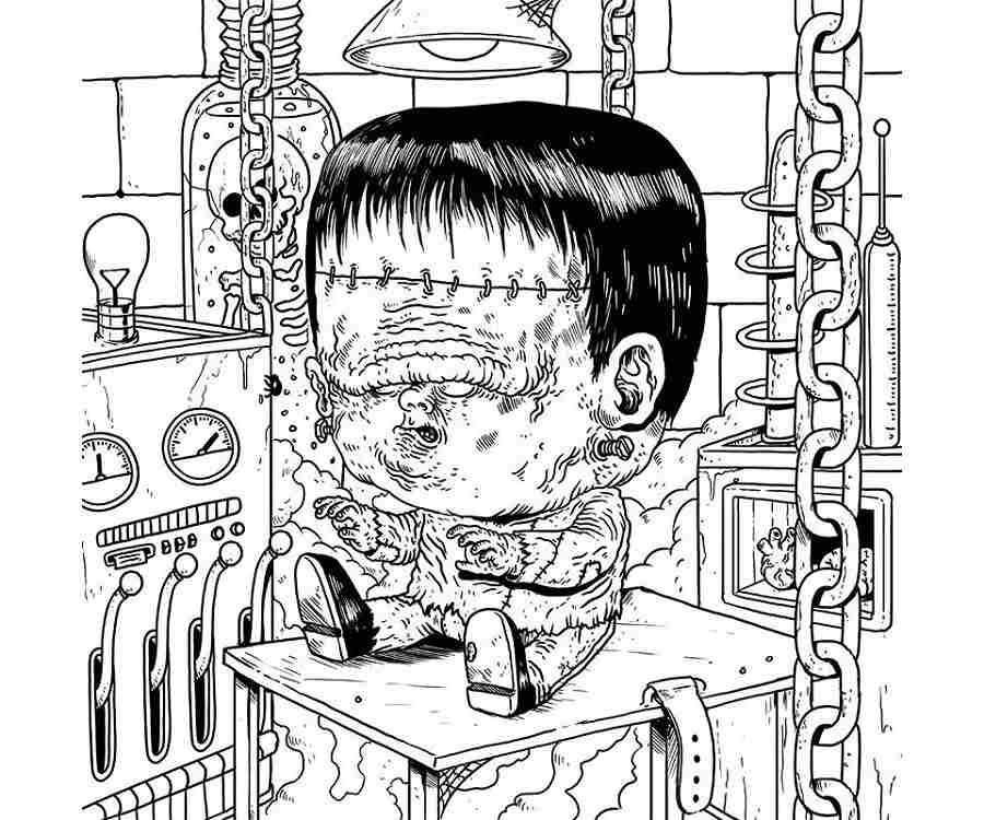 Libro Para Colorear Con Dibujos De Monstruos En Sus Años