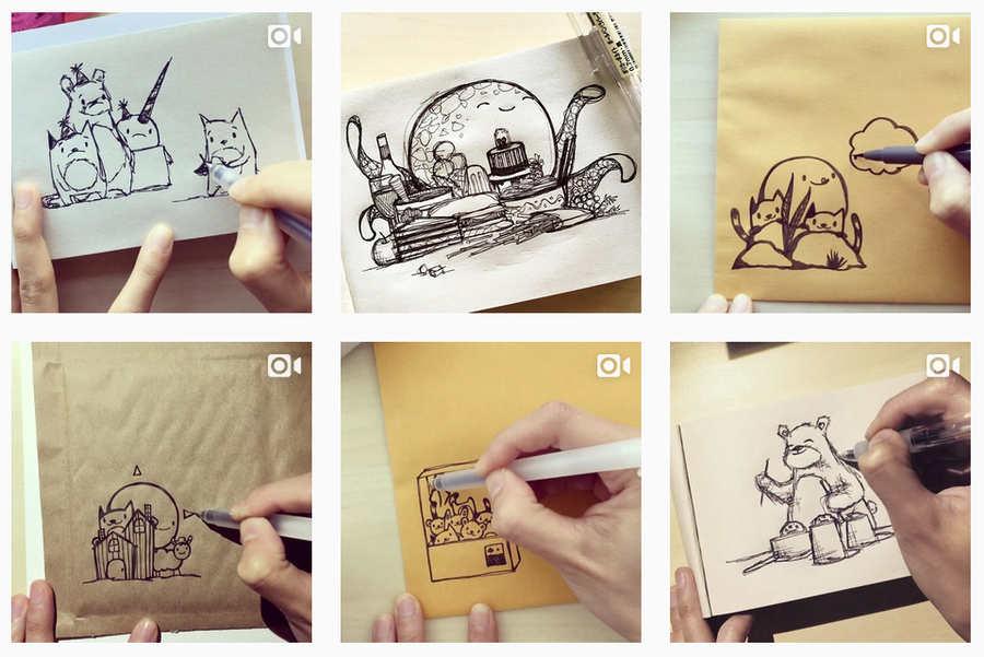 pequeños dibujos en sobres