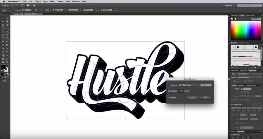 tipografía personalizada en Adobe Illustrator