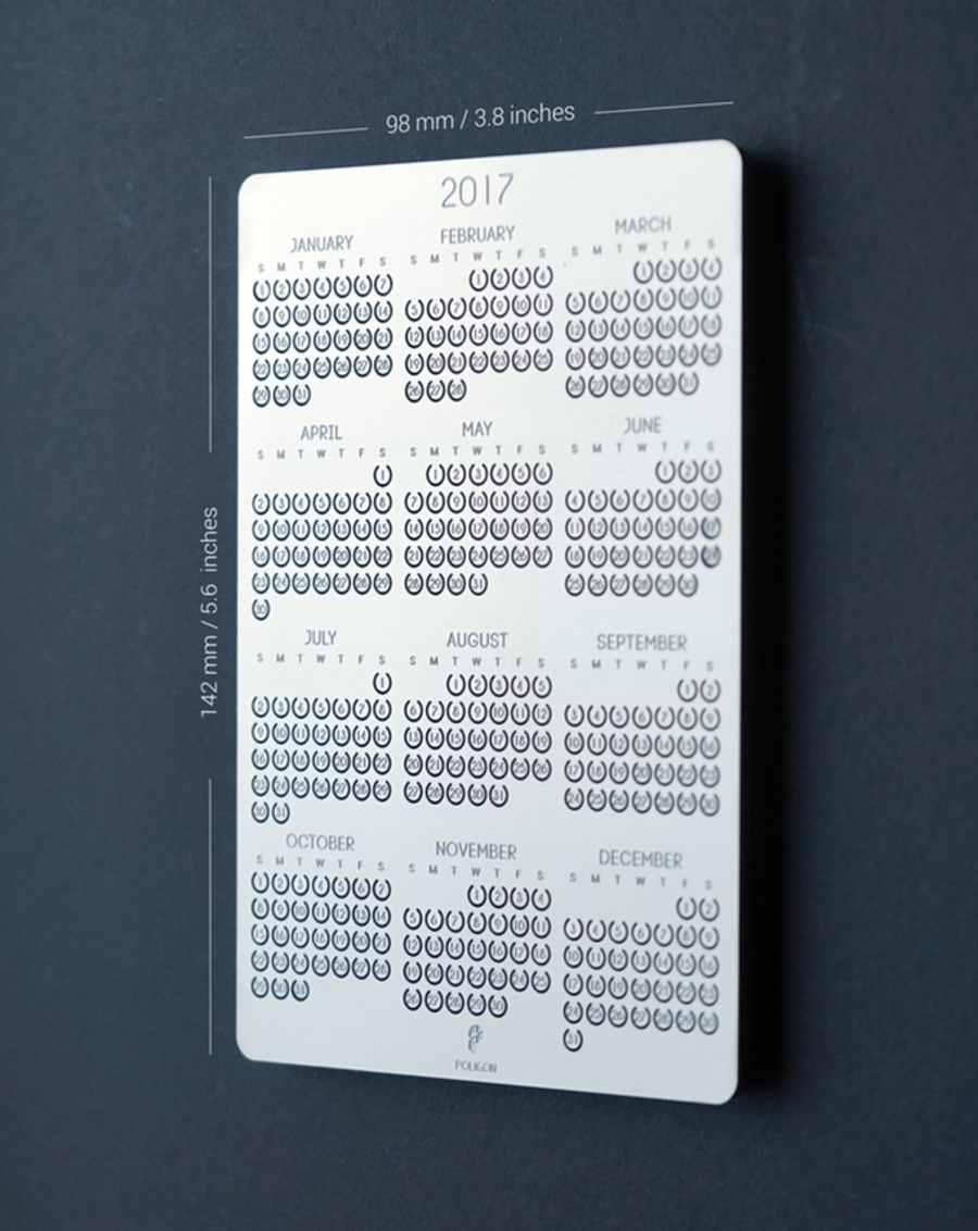 calendario 2017 de metal