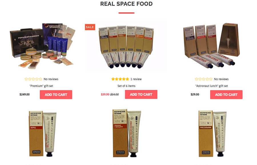 comida de astronauta