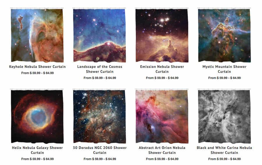 cortinas de baño con galaxias y nebulosas