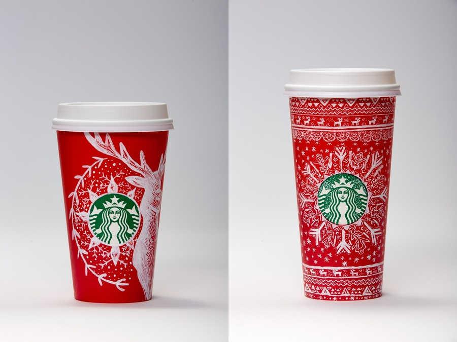 vasos de Starbucks para Navidad