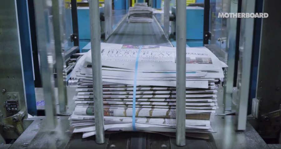 vieja máquina donde se imprime el New York Times