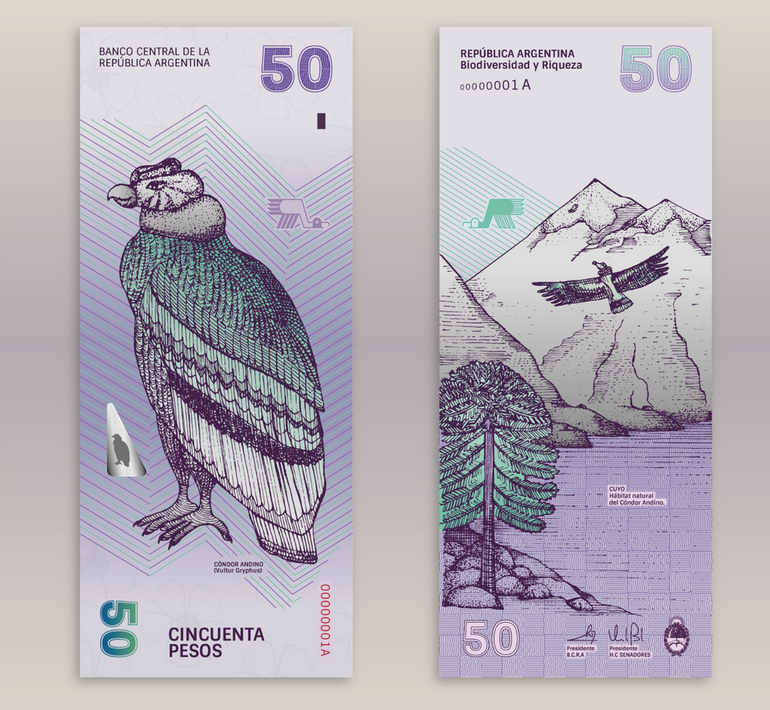 rediseño papel moneda Argentina