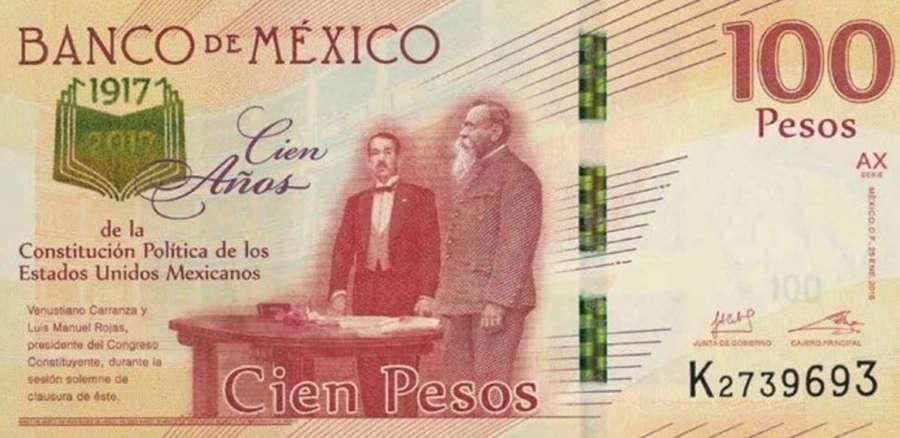 billete Centenario Constitución Mexicana
