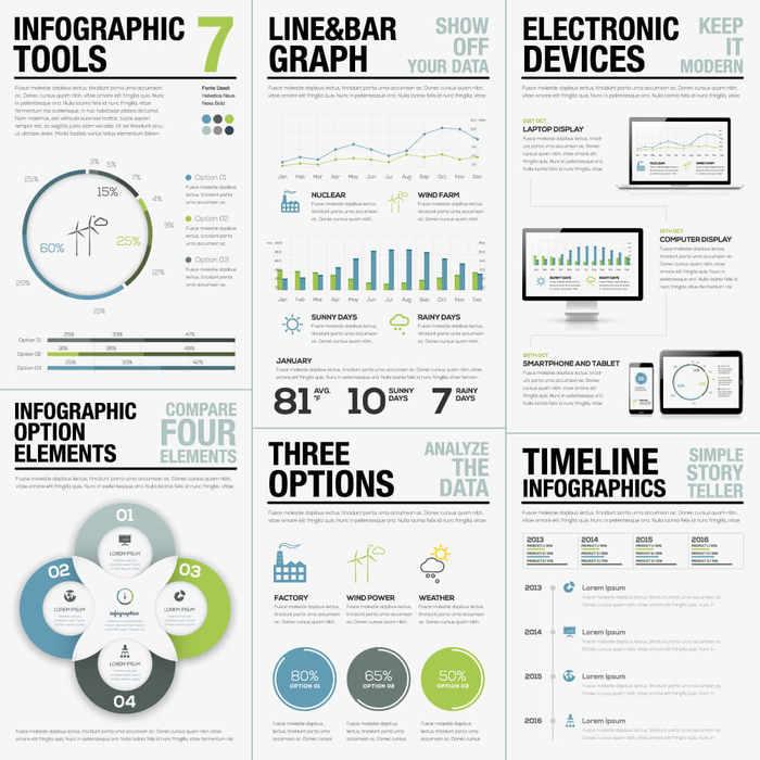elementos gráficos para crear infografías