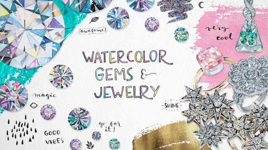 Pintar joyas y gemas con acuarela