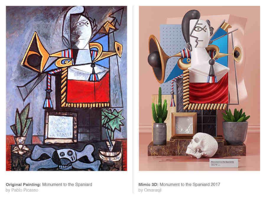 obras de Pablo Picasso en 3D