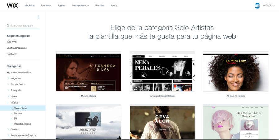 páginas web de música