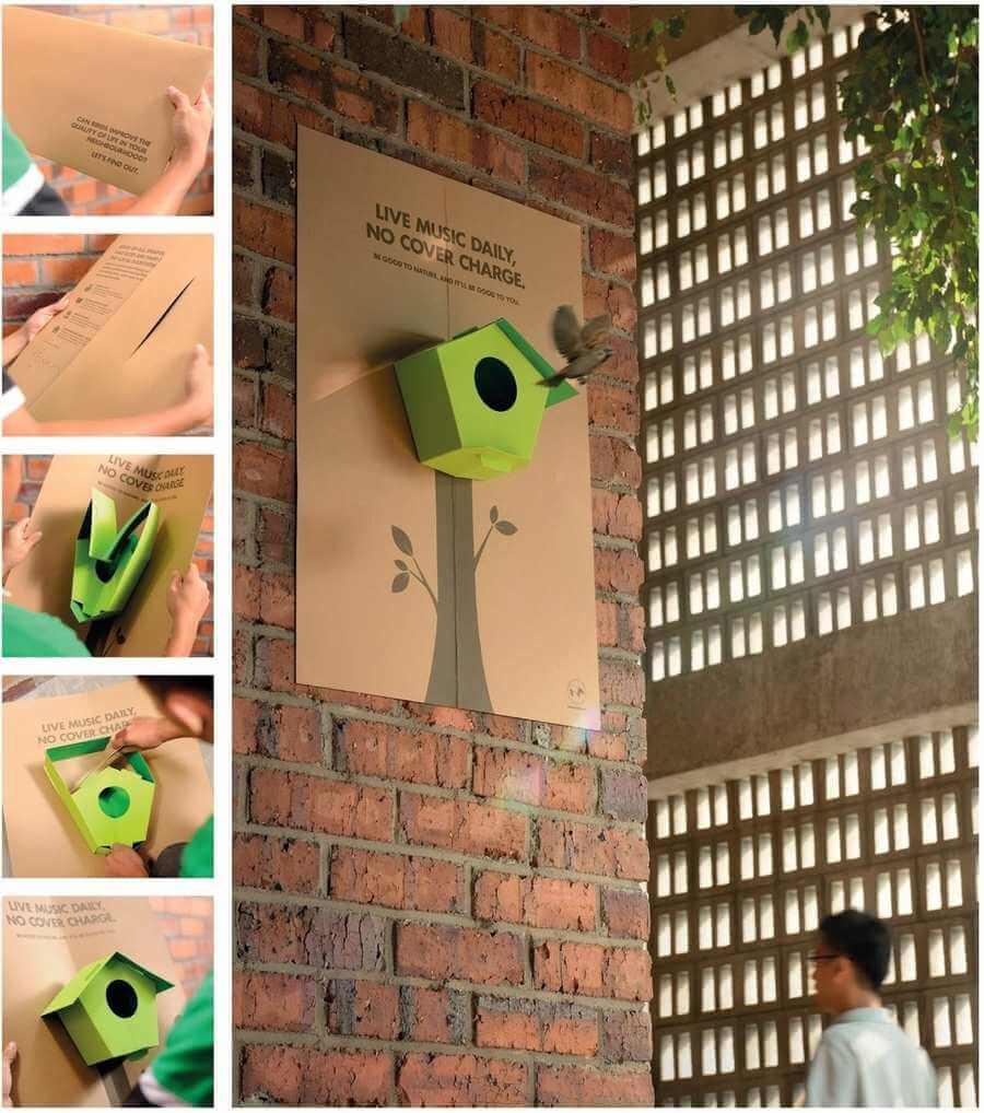 posters pop-up con casas pajaros