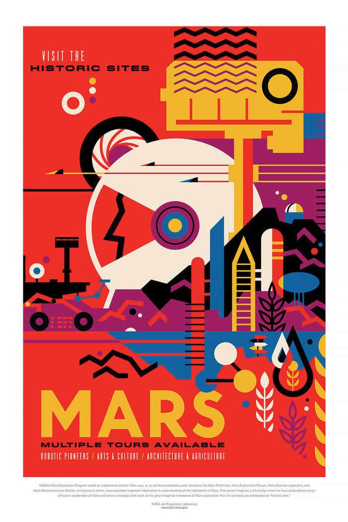 posters de viajes espaciales según la NASA