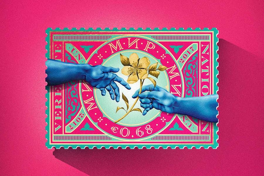 estampillas postales diseñadas para las Naciones Unidas