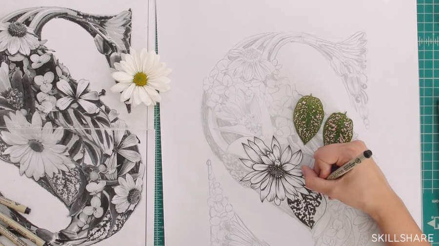 ilustración hecha con collage de flores y plantas