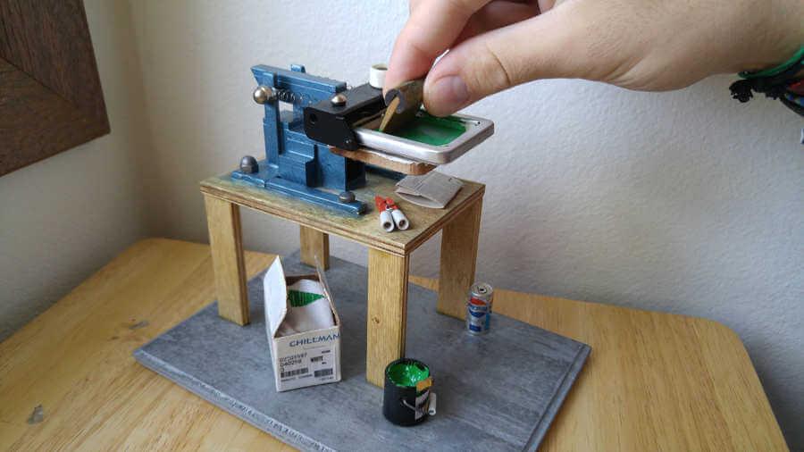taller de serigrafía en miniatura