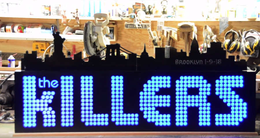 fabricación de letrero para The Killers
