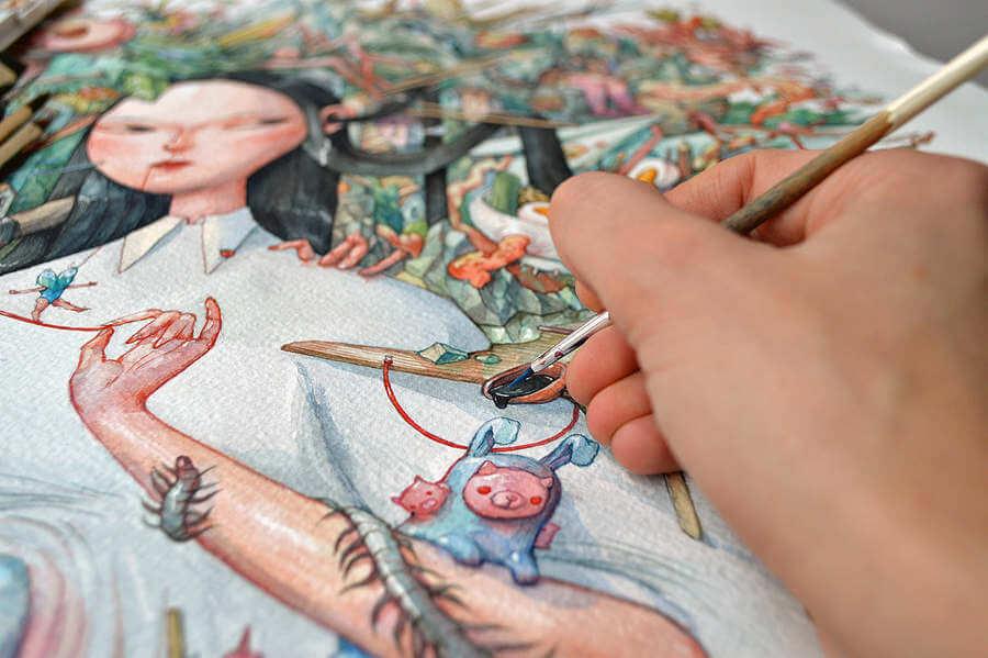 Pintura detallada hecha con acuarelas