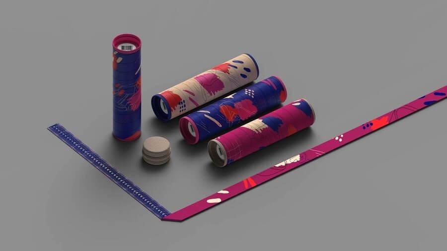Tubo utilizado como empaque para playeras