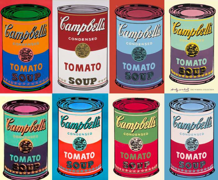 Latas de sopa Campbells sobre Mickey