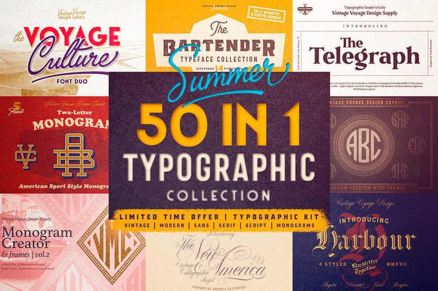 50 fuentes tipográficas modernas y vintage