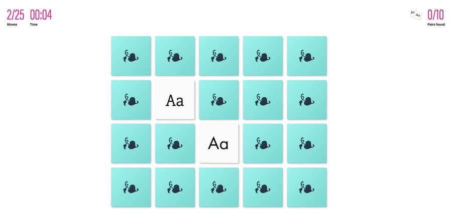 Juego de memoria tipográfico