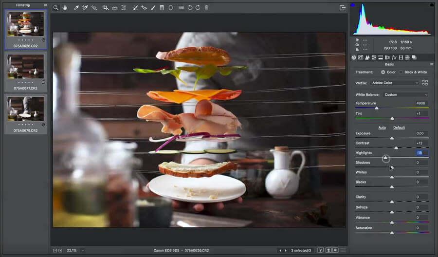 Fotografías de alimentos levitando