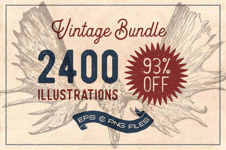 Ilustraciones vintage en vectores