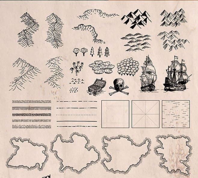 Mapas del tesoro en vectores