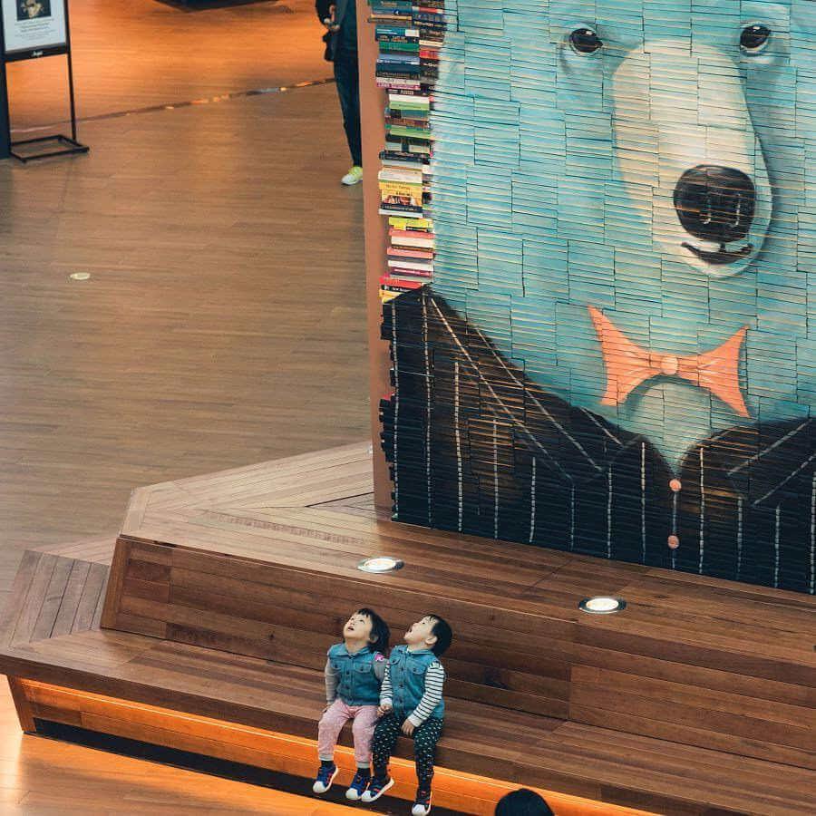Mosaicos gigantes hechos con miles de libros