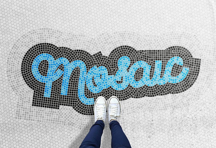 Texto hecho con mosaico